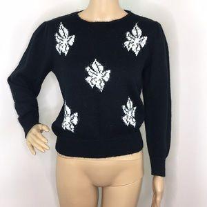Vintage Black Puffy Sleeve Sweater with Jewel